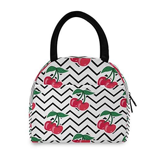 XXNO - Bolsa de almuerzo con hojas de cerezo para frutas y frutas, bolsa de almuerzo aislada, a prueba de fugas, bolsa de mano, organizador para mujeres y hombres, trabajo, picnic, playa