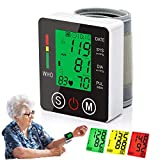 Blood Pressure Monitor Wrist Voice Broadcast Blood Pressure Wrist Cuff with Large Backlit LCD Display for Detecting Irregular Heartbeat-2 Users 2AAA Batteries and Carrying Case Included (Backlight)