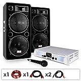 Equipo PA DJ-21 – Amplificador, Altavoces, micrófono 2000W