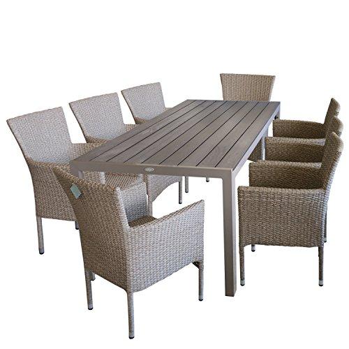 Juego de muebles de jardín de 9 piezas, mesa de jardín, tablero de Polywood, 205 x 90 cm, color champán + 8 sillas de jardín de ratán trenzado, color natural