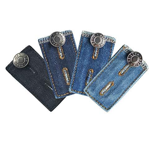 Hosenbunderweiterung für Jeanshosen Schwangerschaft | 4 Stücke Qualitäts Hosenerweiterung Einstellbare Elastische Extender für Hosen Jeans für Schwangere (4er Pack Denim)