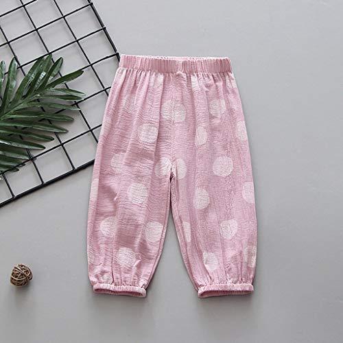 Janly Clearance Sale Pantalones para niños de 0 a 5 años de edad, pantalones de farol para niños, de algodón, pantalones de aire acondicionado, para niños pequeños, rosa, 6-12 meses