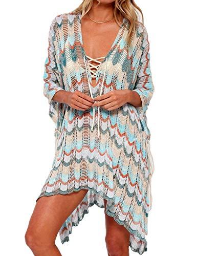 LikeJump Túnica Crochet Borlas Vestido de Playa Pareos Verano para Mujer