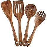 Set di utensili da cucina in legno, set di 4 utensili da cucina in legno, per pentole antiaderenti, spatola, forchetta, tornitore, mestolo, colino, cucchiaini