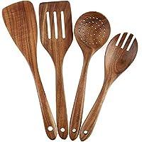 Set di 4 utensili da cucina in legno per pentole antiaderenti in legno, forchetta, paletta, paletta, mestolo, cucchiai con colino