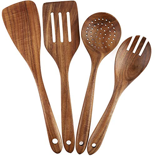 Wooden Cooking Utensils Set 4-Piece Wood Kitchen Utensil Set for Non Stick Cookware Wooden Spatula,Fork,Turner,Ladle,Strainer Spoons