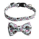 FEimaX Collar de Perro Series de Verano Hermoso Collares para Mascotas con Bowknot Desmontable y Hebilla de Liberación Rápida Ajustable Suave y Cómodo Pequeños Medianos Grandes