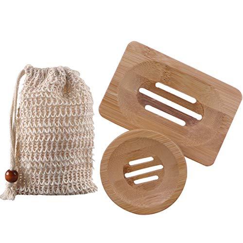Zhongtou 2 Stück Seifenschale Holz mit Sisal Seifensäckchen Natur Seifenablage Bambus mit Ablauf Seifenhalter Rund und Quadratisch für Dusche Bad