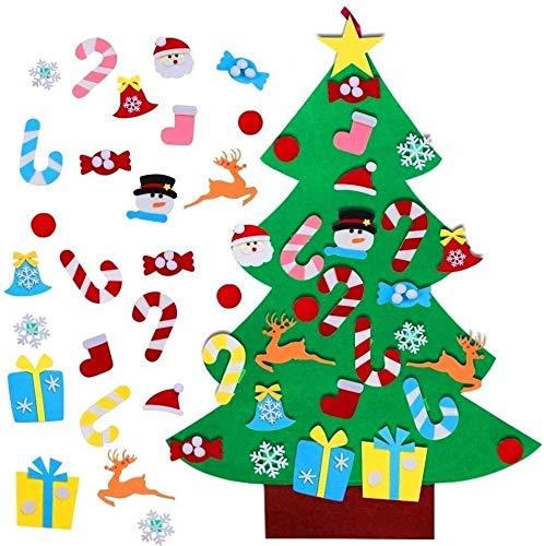 TATAFUN Feltro Albero Natale, 3.2FT della Feltolta di DIY con 26 Ornamenti Staccabili Regali di Natale di Nuovo Anno per la Decorazione della Parete del Portello dei Bambini