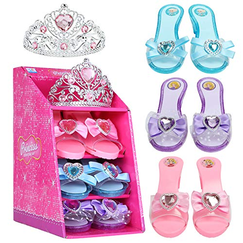 Mastom Girls Play Set! Princess Dress Up Shoes and Tiara (3 Pairs of Shoes + 1 Tiara) Role Play Collection Fashion Princess Shoes for Little Girls