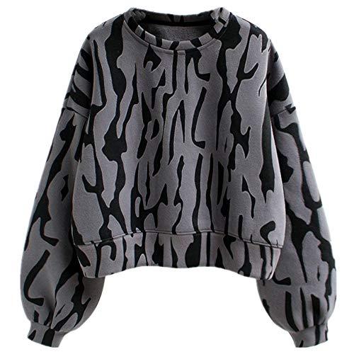 N\P Abrigo de invierno de felpa y grueso suelto corto estampado de leopardo suéter de manga larga blusa