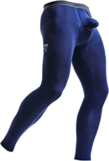 Men's Thermal Underwear Pants Modal Long Johns Tagless Lightweight Thermal Bottoms Separate Pouch