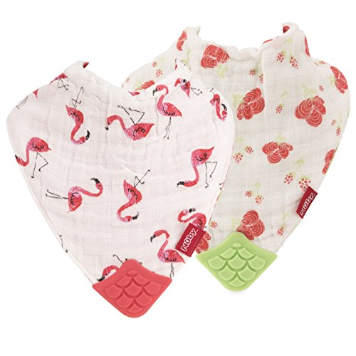 Nuby 2 Piece Reversible 100% Natural Cotton Muslin Teething Bib, Flamingo/Flowers, Pink/Green