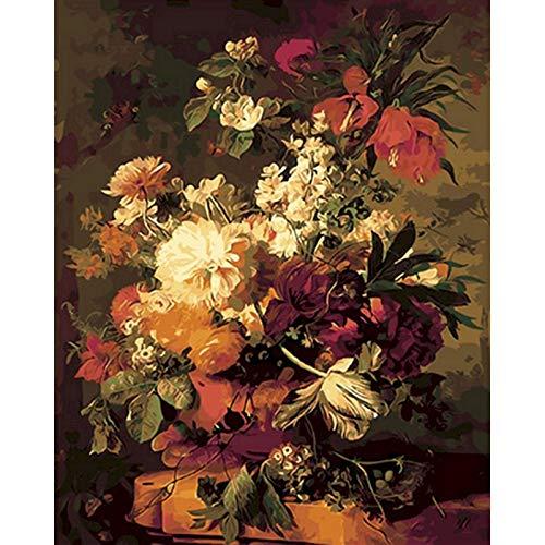 ZXDA DIY Pintura por números Flor Pintura al óleo Pintado a Mano Lienzo Dibujo decoración del hogar Kit de Regalo Pintura DIY Lienzo A6 40x50cm