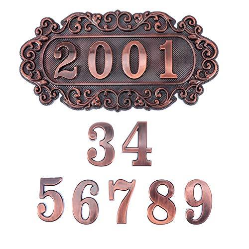 Homoyoyo Placa de Número de Puerta 4 Dígitos Placa de Dirección de Calle Números Bronce 0 a 9 Números Signo de Placa de Puerta Vintage para Casa Apartamento Oficina Instalaciones Públicos