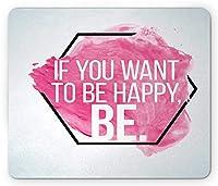 引用マウスパッド、幸福と自己動機についての心に強く訴える引用グランジ背景、標準サイズの長方形滑り止めラバーマウスパッド、黒ピンクと白