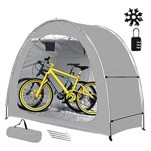 EEUK Almacenamiento de Bicicletas, Guarda Bicis Exterior, Tienda de Bicicletas para el Patio Que Acampa al Aire Libre, Impermeable (Color:Gris)