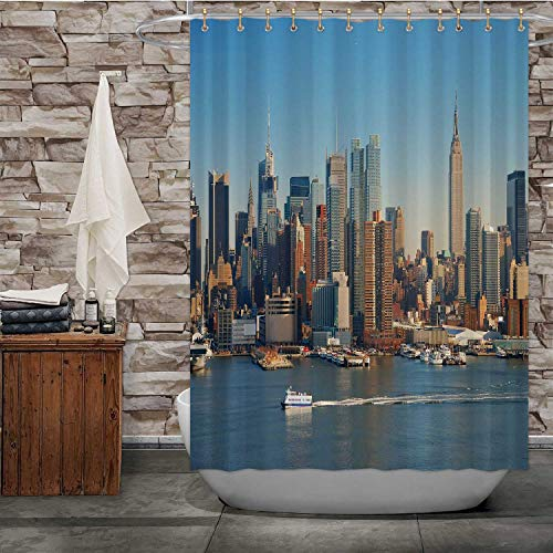 Hitecera New York City Panorama Over River with Empire State Building,Shower Curtain Boat and Skyscraper. for Bathroom Decor 84''Wx72''H