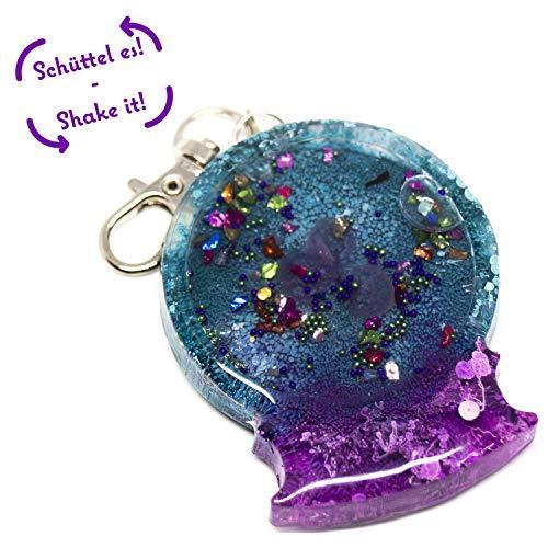 Shaker - Schlüsselanhänger   Schneekugel - Blume lila-grün-silber