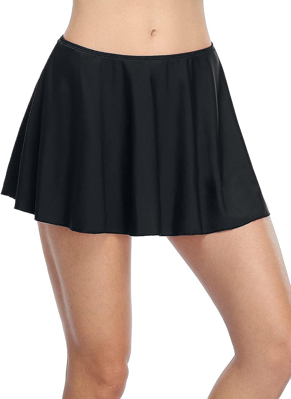 Hilor Women's High Waisted Swim Bottom Skirted Bikini Bottom UPF 50+ Swimsuits Bathing Suits Athletic Swim Skirts