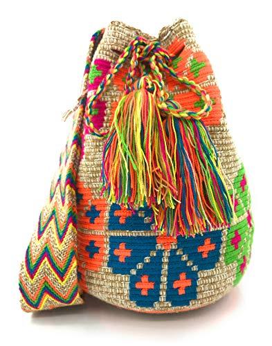 COLOMBIAN STYLE Kolumbianische Handtaschen mit einzigartigen Aufdrucken, Wayuu-Rucksack für Damen und Herren.