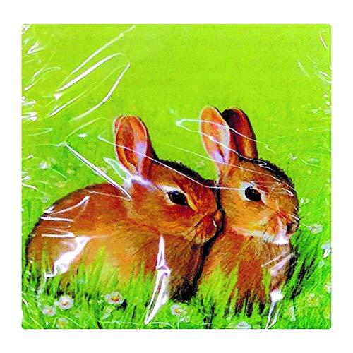 MC Trend 40 Stuks Servetten Papier Pasen Tafel Deco Bunnies Eieren Kip Sy. Dieren