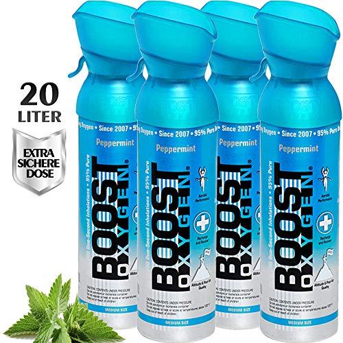 Reiner Sauerstoff in der Dose – 20 Liter PFEFFERMINZE, 95% reiner Sauerstoff in zwei transportablen 5 Liter Sauerstoffdosen für mehr als 400 Inhalationen.