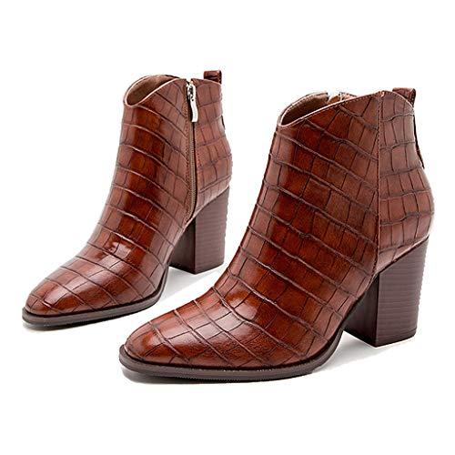 WggWy Botas de Tobillo para Las Mujeres, Las señoras Puntiagudas Puntiagudas apiladas de Cuero sintético de la Cremallera,Marrón,43