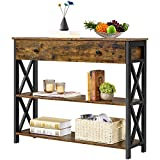 YAHEETECH Industiral Console Table with Drawers, Sofa Table Narrow Console Table for Entryway/Living Room, Entry Table with 2 Tiers Open Shelves, Rustic Brown