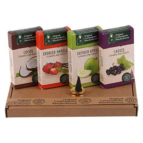 Crottendorfer Räucherkerzen Geschenkset - Früchtemix - Cocos, Erdbeer-Vanille, Grüner Apfel, Cassis - in Geschenkverpackung mit Messingschale (4 x 24 Stück)