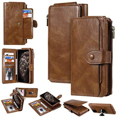 Miagon Coque Portefeuille pour Samsung Galaxy S8,Détachable Flip Cover Étui avec Porte Monnaie Fente pour Multiples Bourse Carte Housse de Protection,Marron