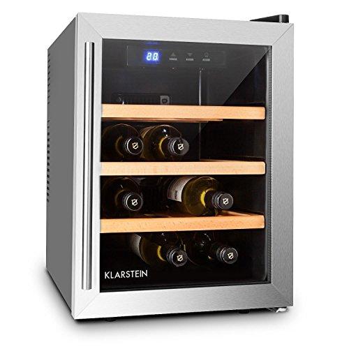 Klarstein Reserva 12 Uno - Weinkühlschrank, 33 Liter, 12 Weinflaschen, 3 x Holz-Regaleinschub,...