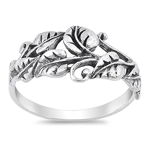 Oxidized Tree Leaf Vine Forest Filigree Ring 925 Sterling Silver Band Size 8