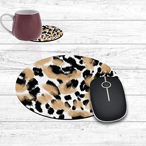 Round Mouse Pad and Coasters Set, Leopard Print Mousepad, Non-Slip Rubber Round Gaming Mouse Pad, Customized Mouse Mat for Home Office Business Gaming,7.87 x 7.87 x 0.1 Inch