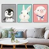 Habitación para bebés Carteles e Impresiones Cute Cartoon Pig Animals Lienzo Pintura Estilo nórdico Dormitorio Decoración Arte de la Pared Imagen 40x50cmX3 sin Marco