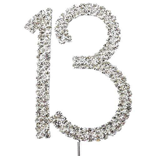 JJOnlineStore Kuchendekoration mit Strasssteinen für Jahrestag, Geburtstag, Verlobung, Party, 16 18 21 25 30 40 50 60 70 80 (Nummer 13), mehrfarbig