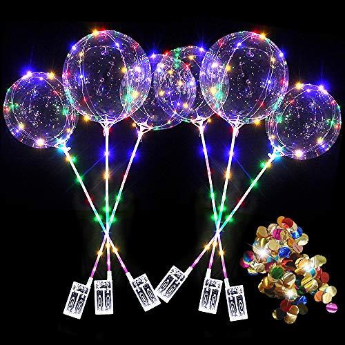 6PCS 20 Zoll LED leuchten BoBo Luftballons bunte Pailletten, blinkende LED Lichterketten Luftballons, leuchtender Ballon für Weihnachten Geburtstagsfeier Valentinstag Feiern Hochzeit Haus Dekorationen