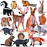Moukiween Woodland Animals Figures – 14pcs Realistic Forest Animals Cake Toppers Creatures Figurines Playset Miniature Animal Toys Birthday Gift for Kids Toddlers