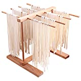 DIYARTS Pasta Drying Rack 8 Row Collapsible Beechwood Handmade Fresh Spaghetti Dryers Multifunctional Kitchen Storage Rack for Noodles Cups Towels