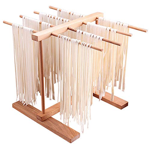 Secador de Pasta - 8 Filas Plegable de Madera de Haya Secadores de Espagueti Frescos Hechos A Mano Estante de Almacenamiento de Cocina Multifuncional para Fideos, Tazas, Toallas