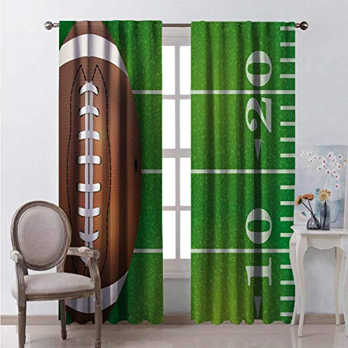 HELLOLEON Boys Room for Bedroom Blackout Curtains American Football Field and Ball Realistic Vivid Illustration College Blackout Curtains for The Living Room W52 x L63 Inch Green Brown White