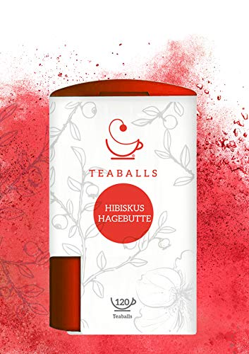 TEABALLS - Früchtetee Hibiskus Hagebutte (1 x 40g) | 150 Teaballs | für ca. 30-60 Tassen Tee | 100% reines Pflanzenextrakt