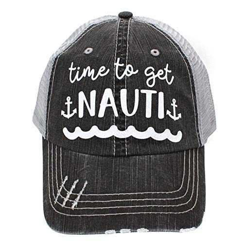 R2N fashions Time to Get Nauti Women's Distressed Lake Trucker Hats Caps Black/Grey