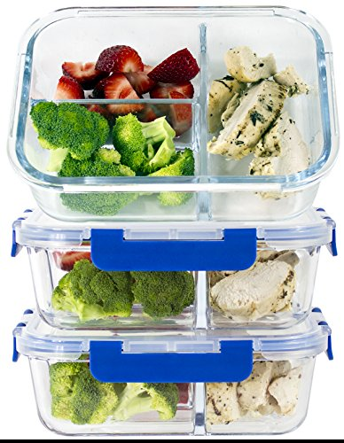 Read About [LIFETIME LIDS] LARGE Premium 3 Sets 3 Compartment Glass Meal Prep Containers 3 Compartme...
