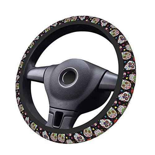 BLUBLU Car Steering Wheel Cover Neoprene Anti Slip, Sweat Absorption Auto Car Wrap Cover - Day of The Dead Sugar Skull