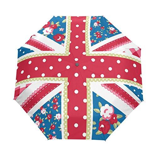 Süße britische Flagge Kompaktschirm, Auto Open Close Reise-Taschenschirm, Winddicht schnell trocknender Regenschirm, Rutschfester Griff für einfaches Tragen