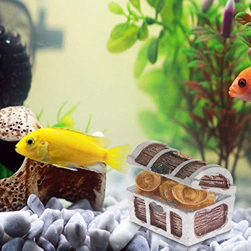 Haven winkel vis tank schat, borst doos antieke creatieve vis tank aquarium decoratie landschap, piraat gouden munten huis ornamenten hars ambachten, 1