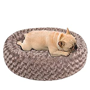 NIBESSER Dog Calming Bed, Donut Dog Bed, Plush Round Donut Cuddler Dog Bed Washable Dog and Cat Cushion Bed, Anti Anxiety, Comfortable Soft Pet Bed Sofa for Small Media Big Dog cat