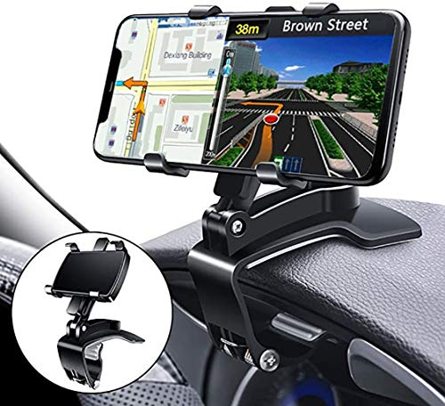 YAOKEEP Car Phone Mount, 360 Degree Rotation Dashboard Rearview Mirror Cell Phone Holder, Sun Visor Phone Clip Mount Stand Suitable for 4 to 7 inch Smartphones