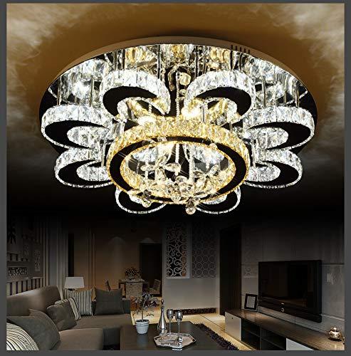 Euroton LED Pendelleuchte Kristall 6021-80cm mit Fernbedienung Kaltweiß neutralweiß warmweiß wechselbar Spots warmweiß Kristall klar bernstein 96W Deckenleuchte Deckenlampen .A+